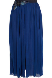 Embellished silk-chiffon midi skirt