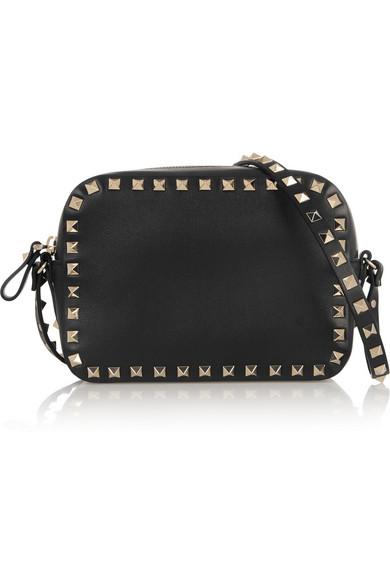 valentino female valentino the rockstud leather shoulder bag black
