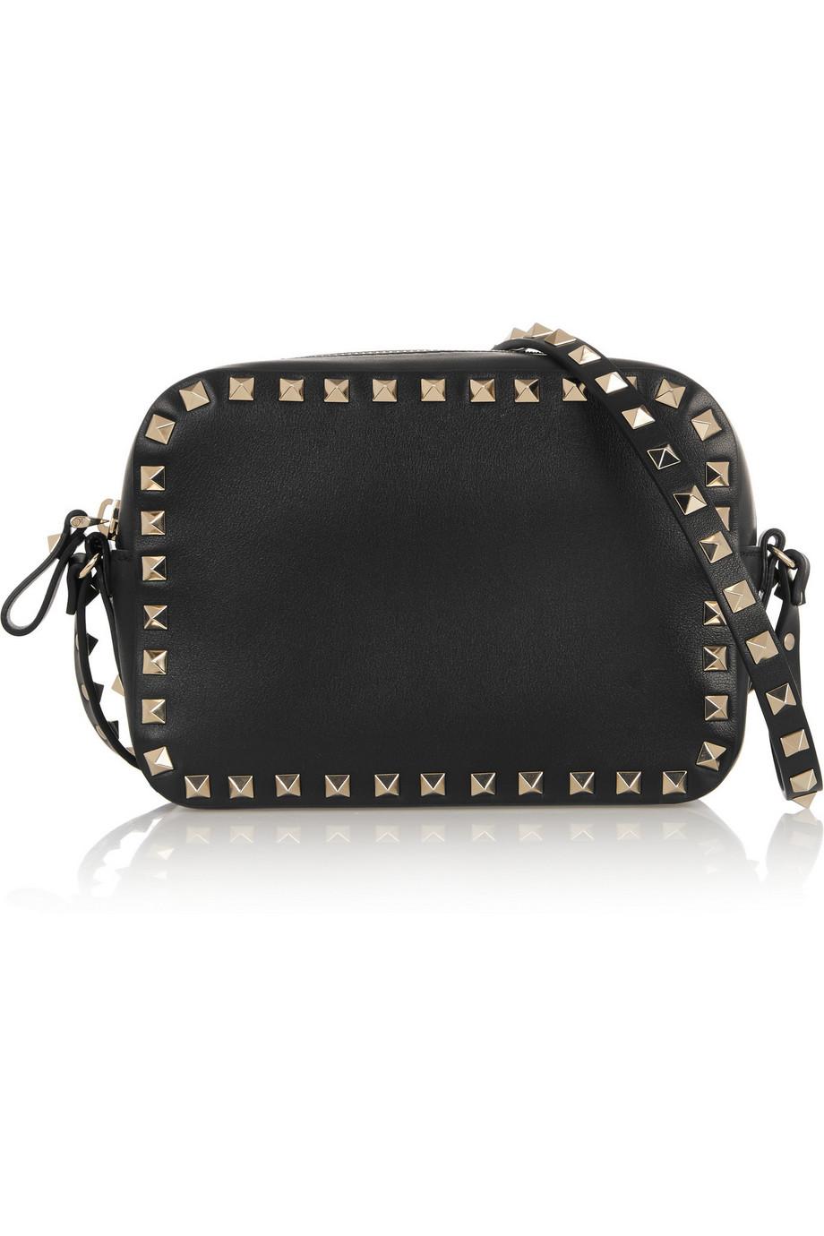 Valentino The Rockstud Leather Shoulder Bag, Black, Women's