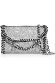 Falabella Tiny metallic faux cracked-leather shoulder bag