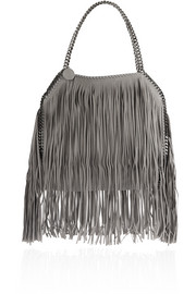 Stella McCartney The Falabella medium fringed faux brushed-leather shoulder bag