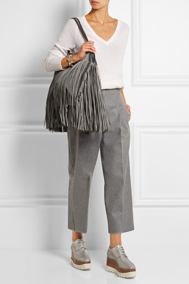 Stella McCartney. The Falabella medium fringed faux brushed-leather  shoulder bag a2148adc89a1a