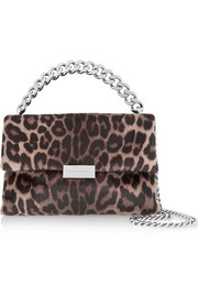 Stella McCartney Soft Beckett medium leopard-print faux calf hair shoulder bag