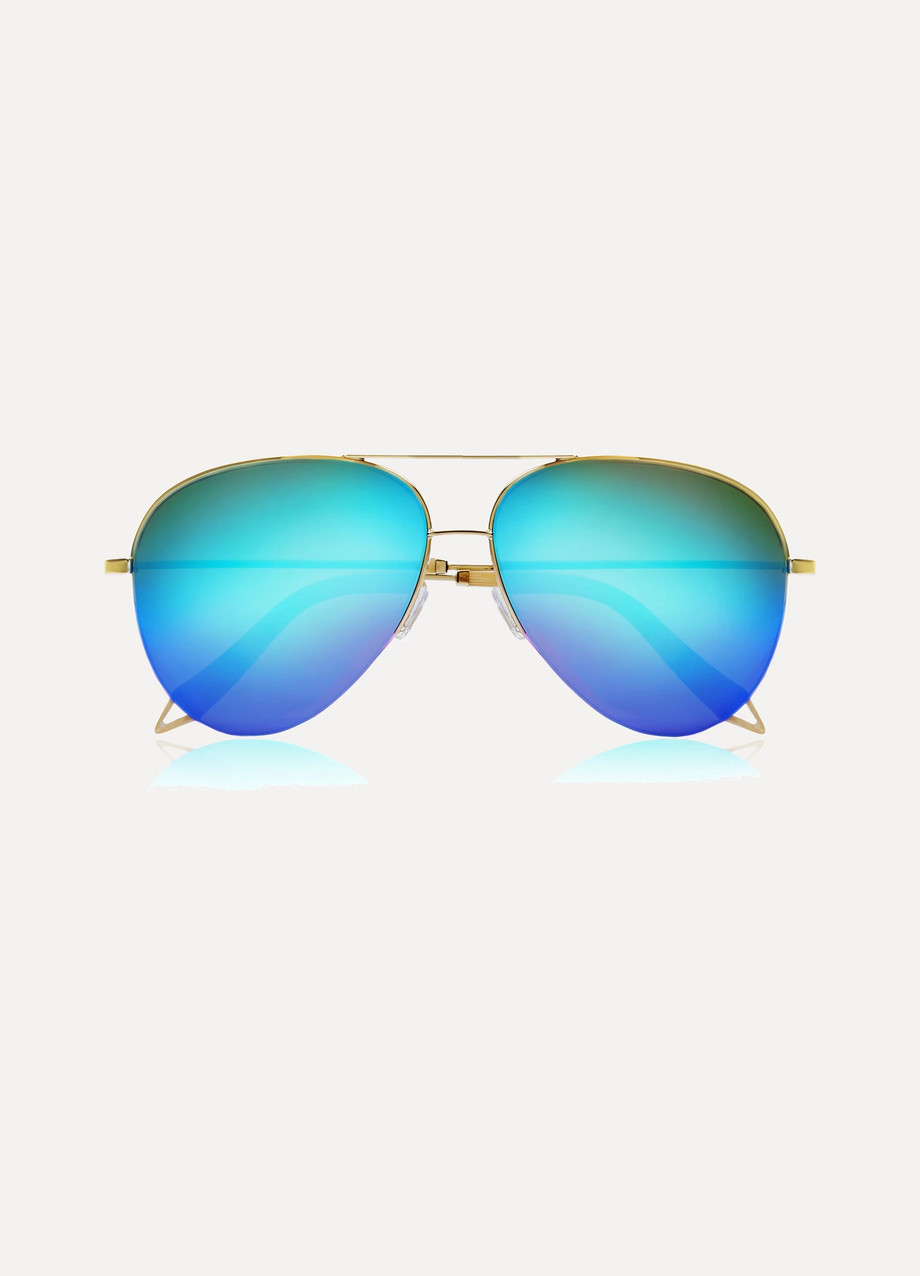 Victoria Beckham Aviator-Style Gold-Tone Mirrored Sunglasses, Gold/Blue, Women's, Size: One Size