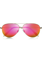 Victoria Beckham Aviator-style rose gold-tone mirrored sunglasses