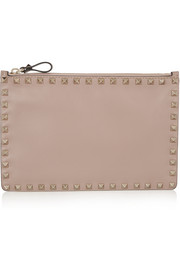 Rockstud medium leather pouch