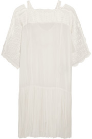 Aude embroidered georgette mini dress