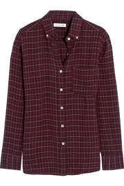 Prune plaid flannel shirt