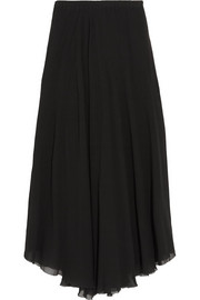 Amery pleated chiffon wrap midi skirt