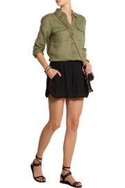 Bertille satin-trimmed crepe de chine shorts