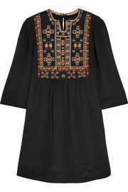 Ren embroidered silk mini dress