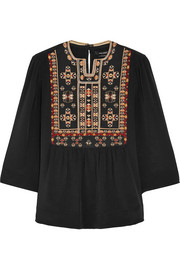 Roma embroidered silk blouse