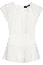 Vermer embroidered silk-organza peplum top