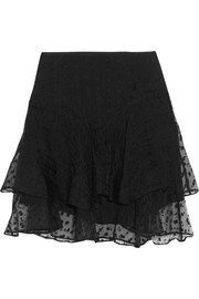 Vadim tiered embroidered organza mini skirt