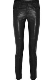 Joren suede-trimmed leather skinny pants