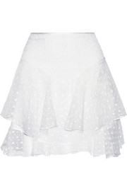Vadim tiered embroidered silk-organza mini skirt