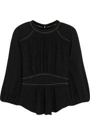 Wiley pointelle-detailed crepe top