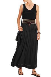 Moody embellished silk crepe de chine wrap skirt