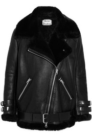 Oversized shearling biker jacket