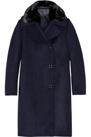 Acne Studios Era faux fur-trimmed wool-blend coat