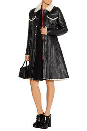 Luana shearling-trimmed textured-leather coat