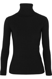 Ribbed merino wool-blend turtleneck sweater