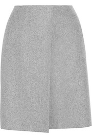Wrap-effect wool-blend felt mini skirt