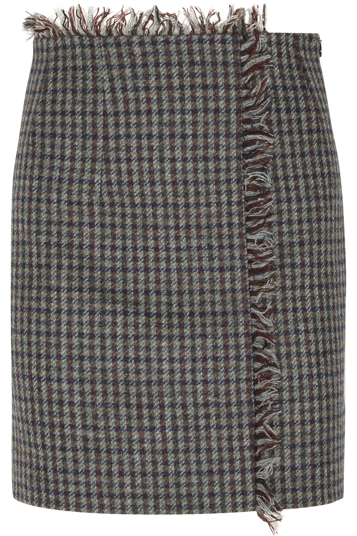 Acne Studios Checked wool-tweed mini skirt