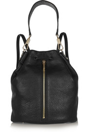 Sling textured-leather backpack