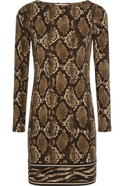 Snake-print stretch-jersey mini dress