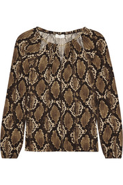 Chain-trimmed snake-print jersey top