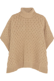 Cable-knit turtleneck poncho
