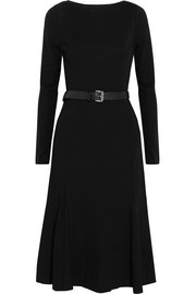 Belted jersey midi dress