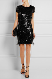 Sequined stretch-jersey mini dress