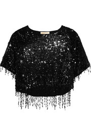 Sequined cotton and modal-blend top