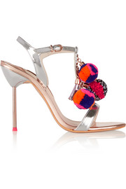Layla Pom Pom embellished metallic leather sandals