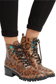 Roxy leopard-print textured-leather ankle boots