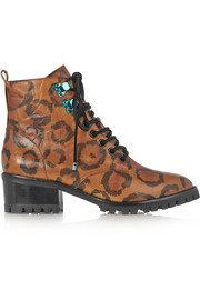 Sophia Webster Roxy leopard-print textured-leather ankle boots