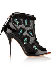 Felice embellished mesh and patent-leather ankle boots
