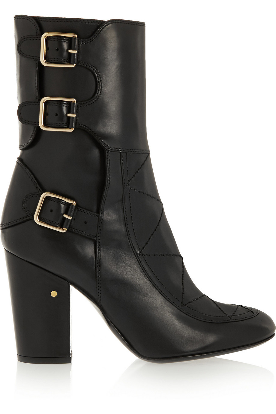 Laurence Dacade Merli Buckled Leather Boots, Black, Women's US Size: 8.5, Size: 39