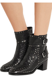 Gatsby studded textured-leather ankle boots