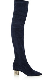 Nicholas Kirkwood Stud Prism embellished stretch-suede over-the-knee boots