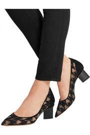 Prism embroidered mesh pumps