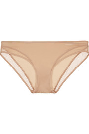 Ethereal mesh-trimmed stretch-satin briefs