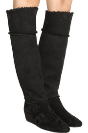 Shearling-trimmed suede wedge knee boots