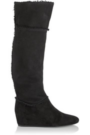 Lanvin Shearling-trimmed suede wedge knee boots