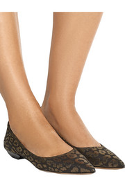 Leopard-print suede point-toe flats