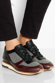 Leather and felt sneakers