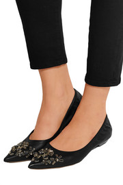 Crystal-embellished leather point-toe flats