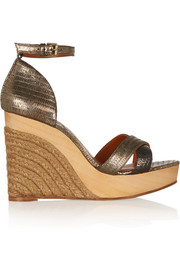 Metallic lizard-effect leather wedge sandals